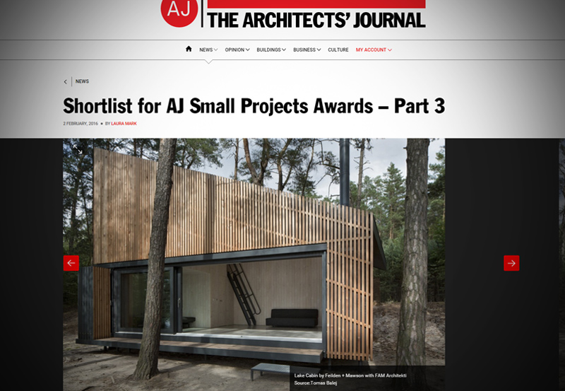 Blog, Lake Cabin Shortlisted by AJ